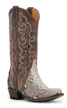 Cavender's by Old Gringo Women's Natural Python and Bone Mad Dog Snip Toe Exotic Western Boots
