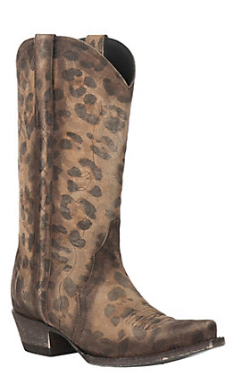 Cavender's By Old Gringo Women's Honey Leopard Print Triad Western Snip Toe Boots
