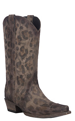 Cavender's By Old Gringo Women's Cafe Leopard Print Triad Western Snip Toe Boots