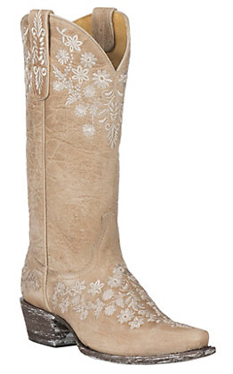 Cavender's by Old Gringo Women's Western Goat Skin Bone with Embroidery Snip Toe Boots