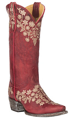 Cavender's by Old Gringo Women's Red Goatskin with Embroidery Western Snip Toe Boots
