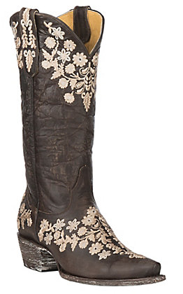Cavender's by Old Gringo Women's Chocolate Goatskin with Embroidery Western Snip Toe Boots
