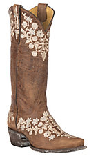 Cavender's by Old Gringo Women's Tan Goatskin w/ Embroidery Western Snip Toe Boots