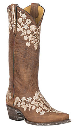 Cavender's by Old Gringo Women's Tan Goatskin with Embroidery Western Snip Toe Boots