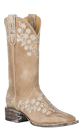Cavender's By Old Gringo Women's Ecru Goat with Embroidery Western Square Toe Boots