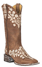 Cavender's By Old Gringo Women's Chestnut Goat w/ Embroidery Western Square Toe Boots