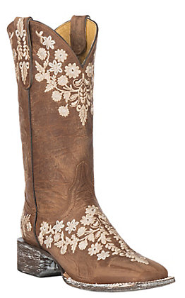 Cavender's By Old Gringo Women's Chestnut Goat with Embroidery Western Square Toe Boots
