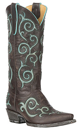 Cavender's by Old Gringo Women's Chocolate Goatskin with Turquoise Angie Inlay Western Snip Toe Boots