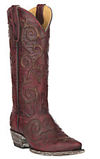 Cavender's by Old Gringo Women's Red Goatskin w/ Brass Brown Angie Inlay Western Snip Toe Boots
