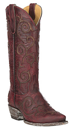Cavender's by Old Gringo Women's Red Goatskin with Brass Brown Angie Inlay Western Snip Toe Boots
