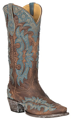 Cavender's by Old Gringo Women's Brass Brown Goatskin with Topeka Turquoise Laser Overlay Western Snip Toe Boots