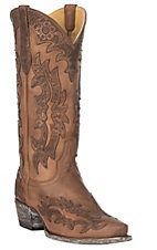 Cavender's by Old Gringo Women's Tan Goatskin w/ Topeka Tan Laser Overlay Western Snip Toe Boots