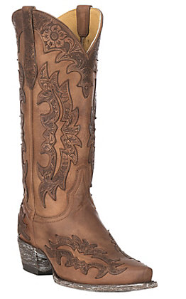 Cavender's by Old Gringo Women's Tan Goatskin with Topeka Tan Laser Overlay Western Snip Toe Boots