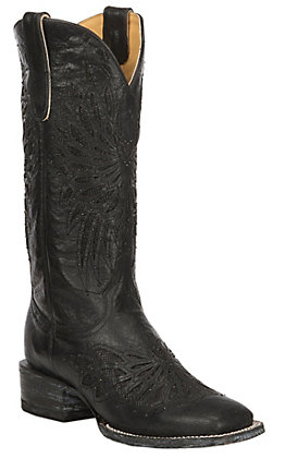 Cavender's by Old Gringo Women's Black with Black Crystal Fabric Inlay Square Toe Western Boots