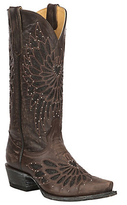 Cavender's by Old Gringo Women's Chocolate with Black Crystal Inlay Western Snip Toe Boots
