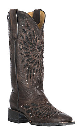 Cavender's by Old Gringo Women's Chocolate with Black Crystal Inlay Square Toe Western Boots