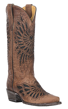 Cavender's By Old Gringo Women's Brass With Black Crystals Fabric Inlay Western Snip Toe Boots by Cavender's By Old Gringo