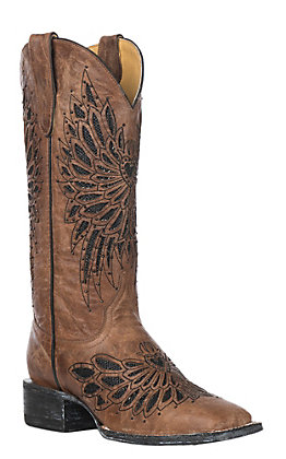 Cavender's by Old Gringo Women's Brass with Black Crystals Fabric Inlay Square Toe Western Boots