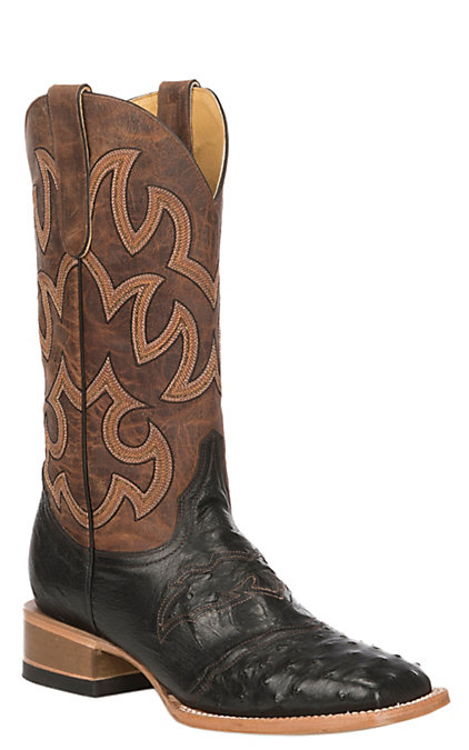 e289f0bf25f Cavender's by Old Gringo Women's Black Full Quill Ostrich Exotic Western  Square Toe Boots