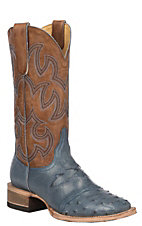 Cavender's by Old Gringo Women's Denim Full Quill Ostrich Exotic Western Square Toe Boots