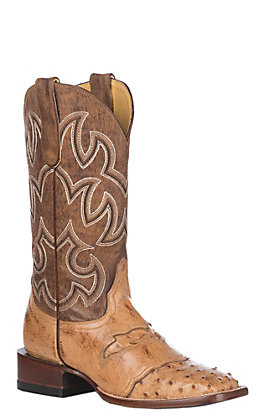 Cavender's by Old Gringo Women's Straw Serengeti Full Quill Ostrich Exotic Square Toe Western Boots