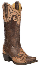 Cavender's by Old Gringo Women's Chocolate with Tan Goat Overlays Western Snip Toe Boots