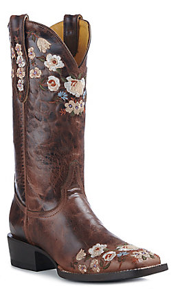 Cavender's By Old Gringo Women's Rust Floral Embroidered Western Square Toe Boots