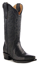 Cavender's by Old Gringo Women's Black Lizard Triad Snip Toe Western Boot