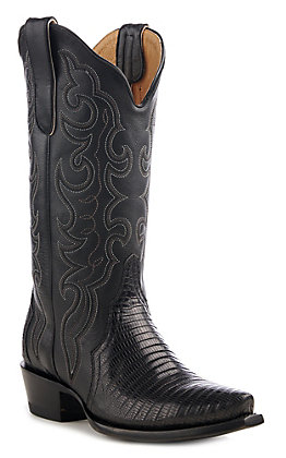 Cavender's by Old Gringo Women's Black Lizard Triad Exotic Snip Toe Western Boots