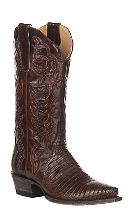 Cavender's by Old Gringo Women's Chocolate Lizard Triad Exotic Snip Toe Western Boots