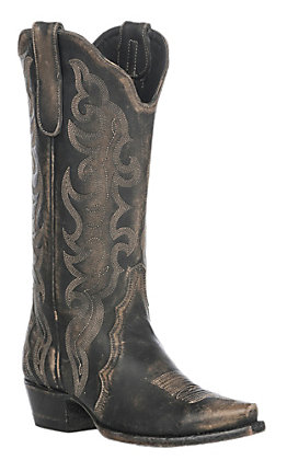Cavender's by Old Gringo Women's Rustic Beige Stonewash Snip Toe Western Boot