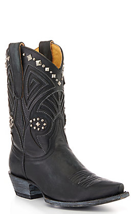 Cavender's By Old Gringo Women's Black Studded Short Snip Toe Western Boots