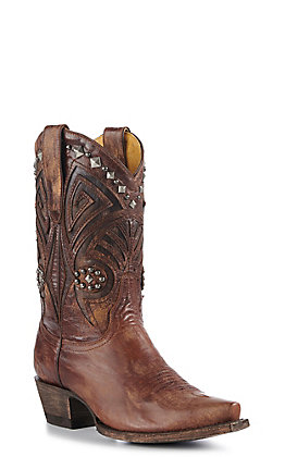 Cavender's By Old Gringo Women's Brass Brown Studded Western Short Snip Toe Boots