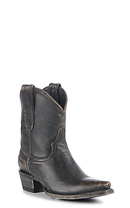 Cavender's By Old Gringo Women's Distressed Black Cowhide Snip Toe Western Booties