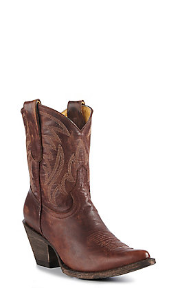 Cavender's By Old Gringo Women's Brass Brown Goatskin Traditional Toe Western Booties