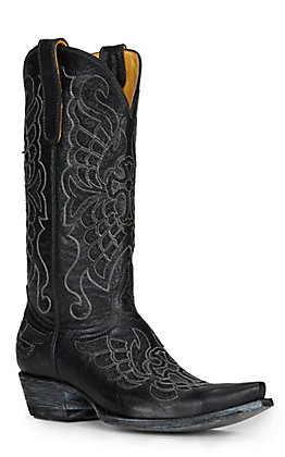 Cavender's by Old Gringo Women's Black Winged Cross with Sparkle Inlay Snip Toe Western Boots