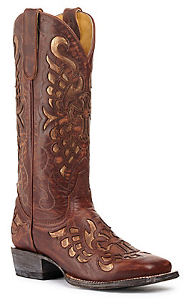 Cavender's by Old Gringo Women's Brass Brown with Gold Inlay Square Toe Western Boot