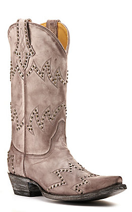 Cavender's by Old Gringo Women's Taupe with Chevron Embroidery and Studs Snip Toe Western Boots