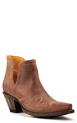 Cavender's by Old Gringo Women's Brown with Embroidery Snip Toe Western Booties