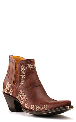Cavender's by Old Gringo Women's Brass Brown with Cream Floral Embroidery Snip Toe Western Booties