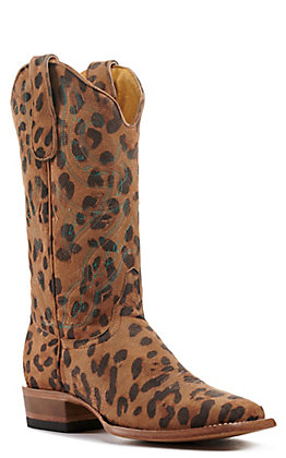 Cavender's by Old Gringo Women's Leopard Print with Turquoise Stitching Wide Square Toe Western Boots