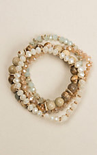 Silver Strike Women's 4 Strand Natural Glass Beaded Bracelet