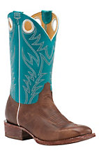Cavender's by Old Gringo Men's Kahlo Tan with Mountain Turquoise Top Square Toe Western Boots