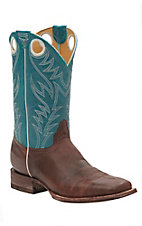 Cavender's by Old Gringo Men's Kahlo Calf Tan with Mountain Turquoise Top Square Toe Western Boots