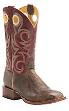 Cavender's by Old Gringo Men's Wrinkled Cognac with Kilauea Red Square Toe Western Boots