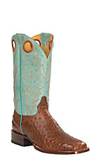 Cavender's by Old Gringo Men's Cognac Full Quill Ostrich Print with Aqua Brick Top Square Toe Western Boots
