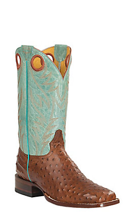 Cavender's by Old Gringo Men's Cognac Full Quill Ostrich Print & Aqua Square Toe Western Boots