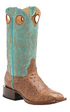 Cavender's by Old Gringo Men's Cognac Ostrich Print with Kilauea Aqua Square Toe Western Boots