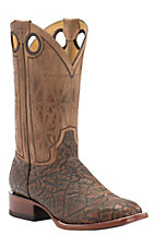Cavender's by Old Gringo Men's Chestnut Printed Elephant with Wild Beige Goat Square Toe Western Boots