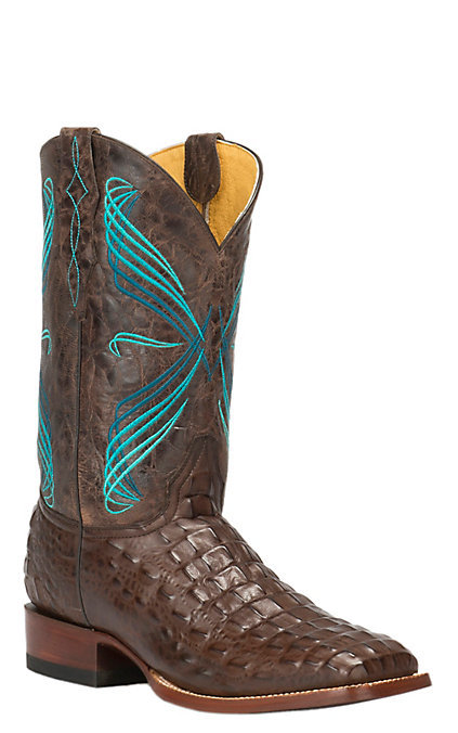 Cavender's By Old Gringo Men's Chocolate Hornback Caiman Print Square Toe Western Boots by Cavender's By Old Gringo
